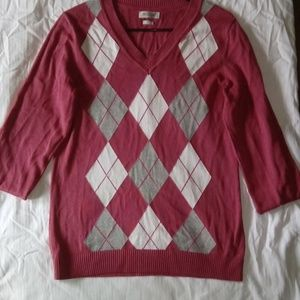 Small pink checkered sweater long sleeves